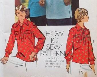 Simplicity 6249 - Easy Unisex Button Down Shirt - Men or Women, Cool 70s Style - Medium (Men) - Chest 38 - 40 - UNCUT  Vintage Pattern