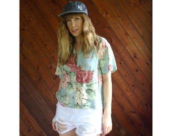 Floral s/s Print Button Down Crop Shirt - Vintage 90s - M