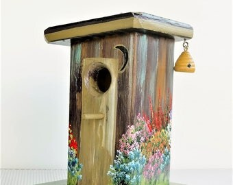 Rustic Brown Outhouse Birdhouse , Handmade , Hand Painted , Environmentally Friendly