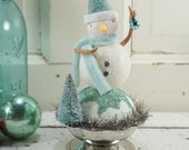 Snowman // Christmas Decoration // Ornament // Winter Mint// Folk Art // Cottage Chic // Vintage Style Christmas // Snowball