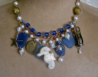 BALANCE Due on SPECIAL ORDER Pirate Wedding Bridesmaid Necklace 3 Mermaid Seahorse Shells in Red Blue Purple