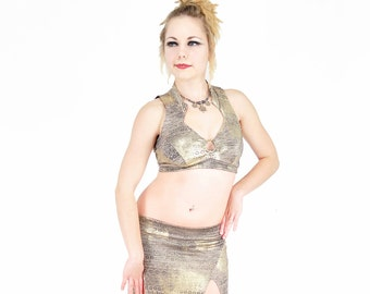 Madeline Top - Gold and Beige  -  bellydance, tribal fusion belly dance