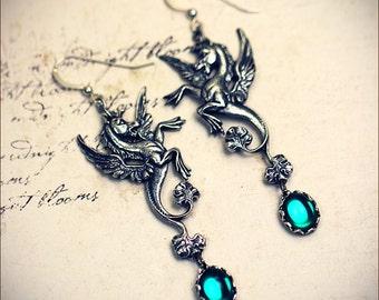 Emerald Pegasus Earrings, Hippocampus, Fantasy Jewelry, Winged Horse, Medieval, Renaissance, Ren Faire Costume, Mythology, Choose Your Color