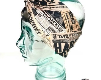 Daily Prophet Harry Potter Turban Knot Headband - knot headband, workout headband, geeky headband, jogging headband, newspaper, books