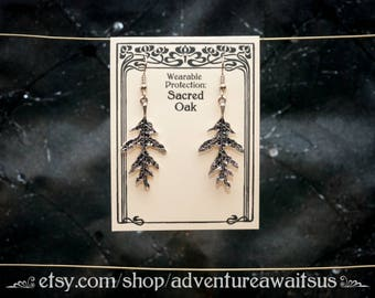 Sacred Oak Leaf Earrings - metal silver stainless steel protection forest yggdrasil pagan wicca spiritual green witch greenman celtic