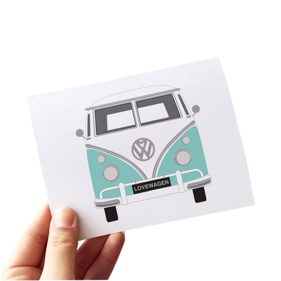 retro card, volkswagen bus, volkswagen card, love card set, wedding thank you card set, retro note card set, vw cards