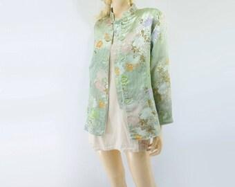 Pastel Kimono Jacket Boho Kimono Jacket Lucite Green Kimono Kimono Cardigan Pastel Asian Jacket Seafoam Short Kimono 80s Kimono Jacket m, l