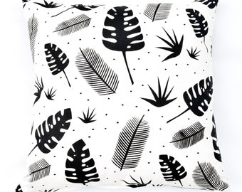 In the Jungle - organic, hand printed modern plant pattern accent pillow, black and ivory, monochromatic, leaves, nature inspired home decor