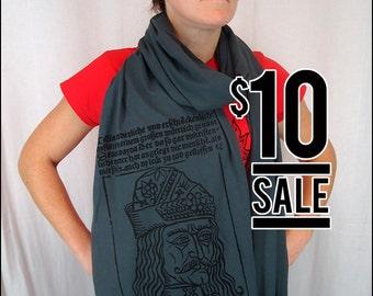 10 Dollar Sale-- Vlad the Impaler Gray Sheer Cotton Scarf