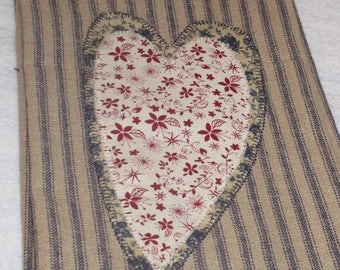 Primitive Blue and Red Heart on Heart Kitchen Towel