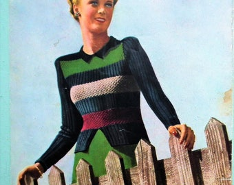 Stitchcraft October 1945 - vintage 1940s knitting sewing crafts magazine UK - 40s patterns women's sweaters lingerie Fair Isle cardigan WWII
