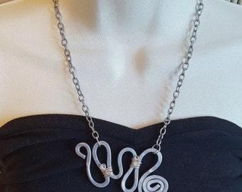Hammered Aluminum Spiral Necklace