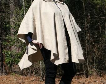 Linen Hooded Cape or Poncho - Cosplay Mara Jade Skywalker Michonne Renaissance Garb