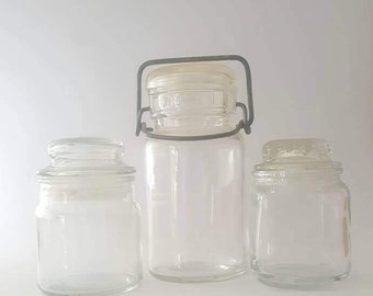 Collection of 3 Vintage Glass Jars