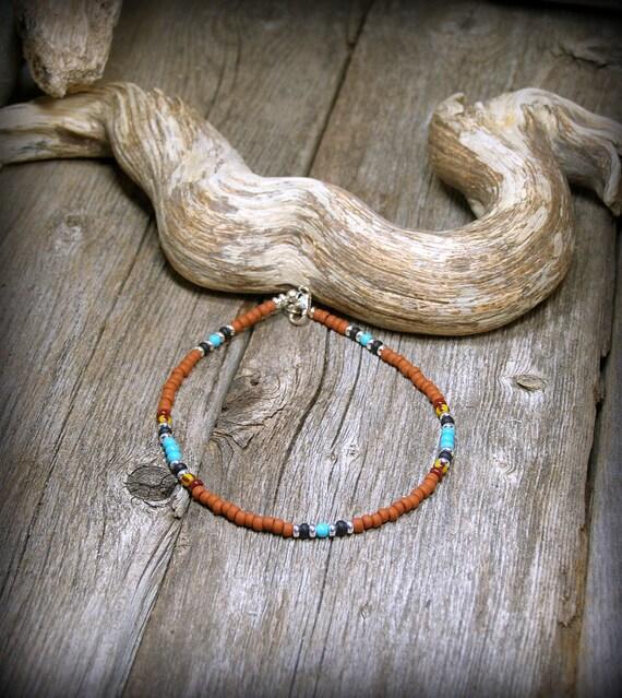 Tribal Bracelet, Native American Bracelet, Southwest Bracelet, Seed Bead Bracelet, Minimalist Bracelet, Tribal Jewelry, Ankle Bracelet