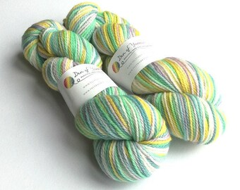 Hand dyed BFL aran yarn. Sister Suffragette, green, blue, purple, white. Indie dyed. aran weight. Suitable for cloth nappy covers. Knitting.