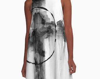 Black and White Summer Dress Abstract Cross Religious Wear Loose Wearable Art Clothing Office Attire Casual Gray Dress Girls Night Plus Size