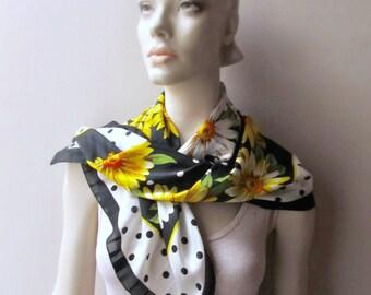 vintage scarf polkadots daisies flower power 1960 chiffon fashion