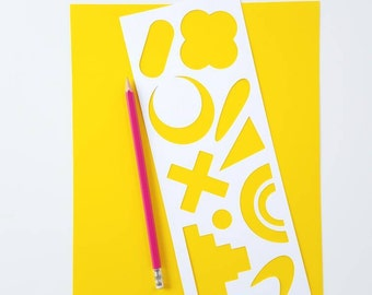Funky Shapes Stencil Set with 11 Stencils