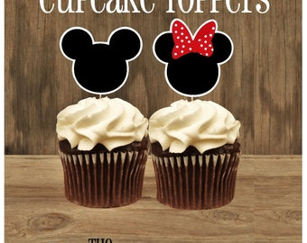 Mouse Friends Party - Set of 24 Assorted Red Minnie and Mickey Cupcake Toppers by The Birthday House