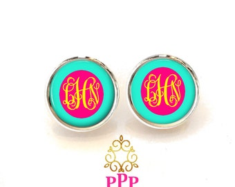 Aqua Pink Yellow Monogram Earrings, Personalized Earrings, Monogram Jewelry, Bridesmaid Jewelry, Personalized Jewelry  (494)