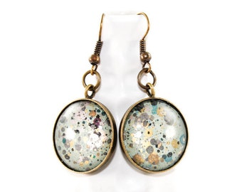 Splatter Painting Dangle Earrings - Painted Domed Glass in Round Brass Setting - Pale Aqua, Gold, Gray, Black - One of a Kind Gifts for Her