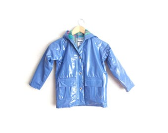 Size Youth 6 // BLUE PVC RAINCOAT // Hooded Jacket - Polyvinyl - Plaid Lining - Snap Buttons - Waterproof - Rain Jacket - Vintage '80s.