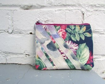 the painterly floral pouch ... one of a kind, vintage cotton, hand painted, zip pouch