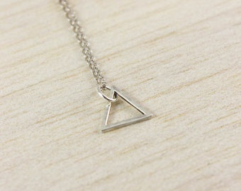 Geometric Triangle Necklace, Geometric Silver Necklace, Triangle Jewellery, Minimal Necklace, Delicate Triangle Necklace, Ditsy Triangle
