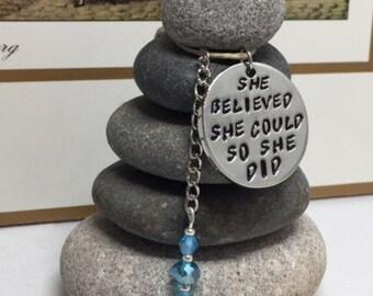 She Believed she could so she did Rock Cairn, Stacked Stone, Inspirational, Gratitude, Hope, Secret Santa, Positive Energy, Desk Gift