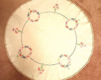 Vintage 50s Round Floral Hand Embroidered Round Tablecloth with crotchet edge