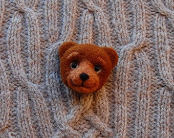 Teddy Bear Brooch, needle felted miniature, jewelry, brown, wool, handmade