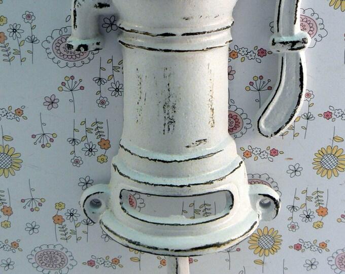 Water Well Pump Cast Iron Industrial Wall Hook White Shabby Elegance Man Cave Nautical Leash Jewelry Coat Hat Keys Bathroom Key Towel Hook