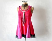 Bright Pink Tank Women's Hooded Tunic Upcycled Boho Clothing Fit Flare Top Eco Friendly Butterfly Shirt Summer Fashion Hood Shirt S 'CALIOPE
