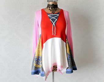 Colorful Tunic Shirt Upcycled Clothes Lagenlook Top Boho Gypsy Clothing Lace-up Criss Cross Layered Top Fit Flare Eco Friendly XS 'FELICITY'