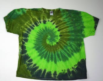 Four Greens Spiral Tie Dye T-Shirt (Fruit of the Loom Heavy Cotton Size 4XL) (One of a Kind)