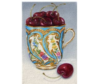 CUSTOM A Cup of Cheer... Bright Cherries in French Sevres Teacup 5x7 Original Painting in OIL by LARA Still Life