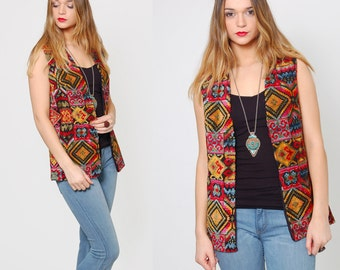 Vintage 70s TAPESTRY Vest CHENILLE Hippie Vest PSYCHEDELIC Boho Top Duster Layering Piece