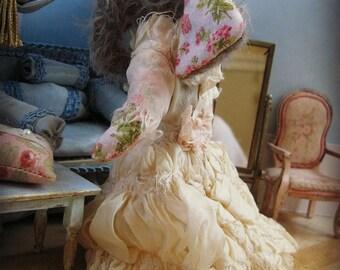 "OOAK Miniature Elephant Bride - ""Esther"" - German Mohair Art Doll - 6"" Tall - 1:12 Dollhouse Scale"