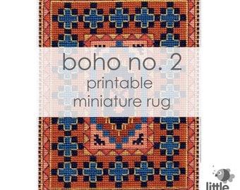 "Printable ""Boho No. 2"" Miniature Floor Rug - modern miniature for dollhouse / instant digital download of original cross stitch rug"