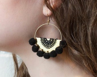 Lace earrings - POPPY - Black, ivory, olive green or raspberry lace