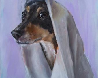 "Rat Terrier, Jack Russell, Towel, Bath, 18"" x 24"" Original Painting by Clair Hartmann"