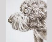 Dog Portrait Custom Sketch, Sepia Watercolor