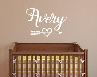 Personalized name decal, arrow heart decor, nursery wall decal, monogram arrow decal, girl name decal, teen room, dorm decal