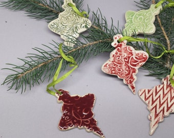 Christmas Tree Ornaments - Set of 5 of pottery ornaments - Neighbor Christmas  ornament - Handmade