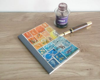 Sunset Sea Travel Diary, A6 Journal Notebook | Summer Travel Vacation Gift, Upcycled Traveler's Notebook | Orange Teal Postage Stamp Collage