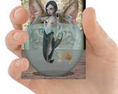 ACEO Card | Lolita Mermaid | Mermaid And Cat | Big Eyed Mermaid | Mermaid And Goldfish | Artist Trading Card | Oblivious