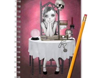 Clairvoyant Notebook - Goth Girl Journal Gothic - LINED OR BLANK pages, You Choose