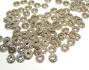 25 Pewter Dimpled Donut Spacer Beads