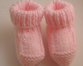 Pink Knitted Baby Bootees - Baby Booties - Baby Socks